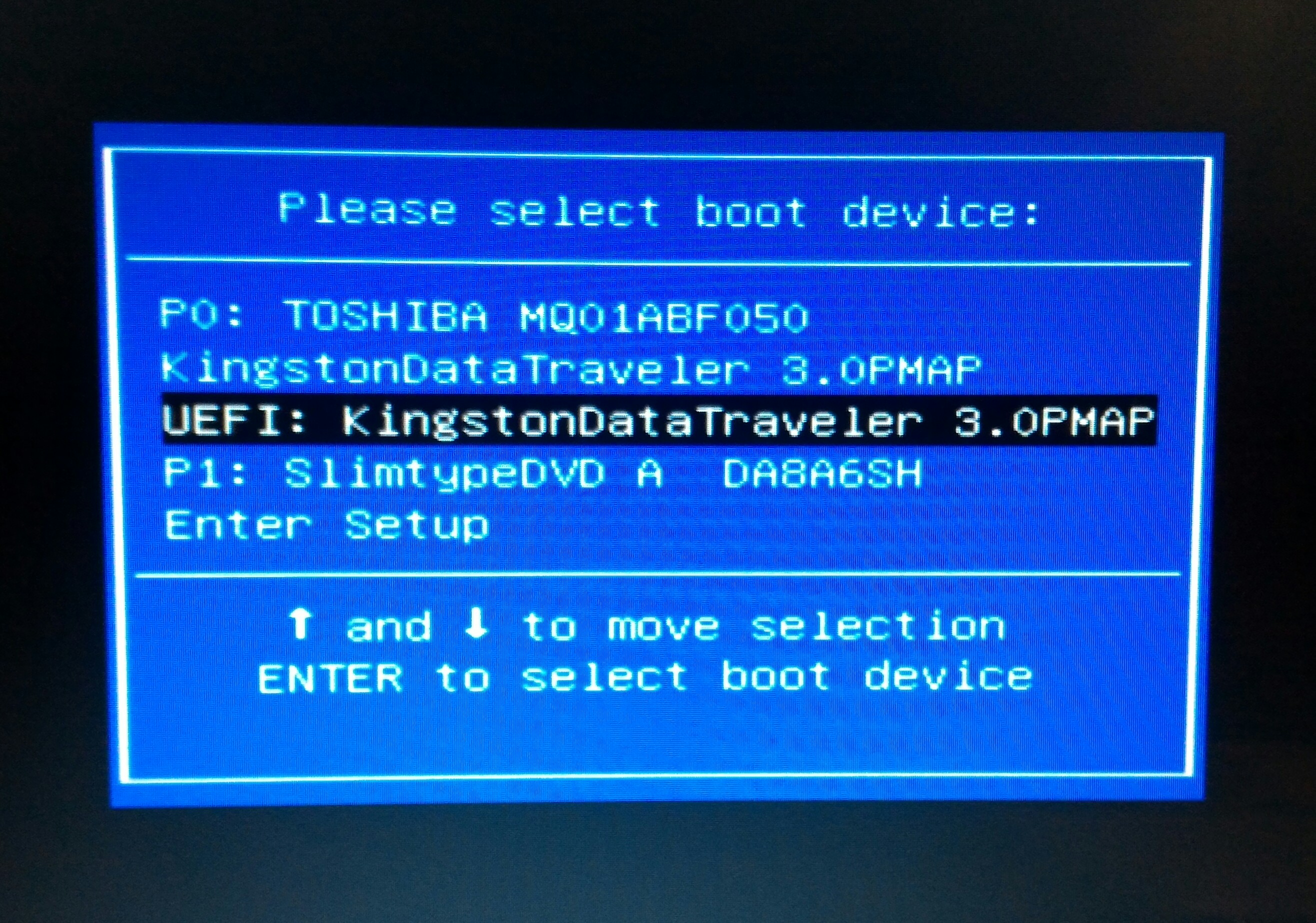 How do I start (boot) my computer from a USB device or DVD